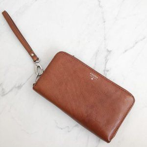 Fossil Brown Leather Wristlet Wallet
